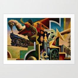 Classical Masterpiece 'Instruments of Power - Train, Airplane, Steam by Thomas Hart Benton Art Print