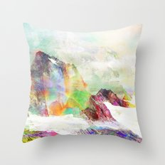 Glitch Mountain Throw Pillow