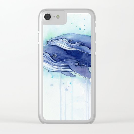 Humpback Whale Watercolor Mom and Baby Painting Clear iPhone Case