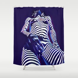 1813s-AK Sensual Blue Nude in Window Blind Stripes Shower Curtain