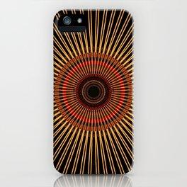 RAYS - gold earth-tone lines on black mandala iPhone Case