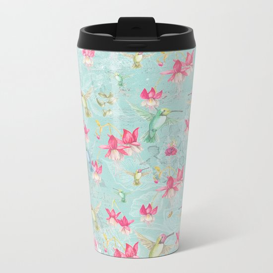 Vintage Watercolor hummingbird and Fuchsia Flowers on mint Background Metal Travel Mug