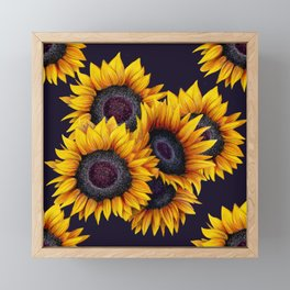 Sunflowers yellow navy blue elegant colorful pattern Framed Mini Art Print