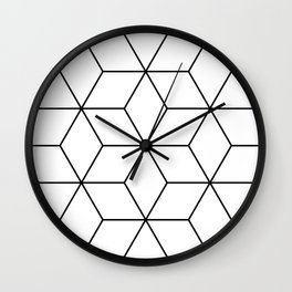 Geometric Cubes Black & White Wall Clock