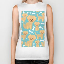 pattern funny golden beige dog and white bones, Kawaii face with large eyes and pink cheeks Biker Tank