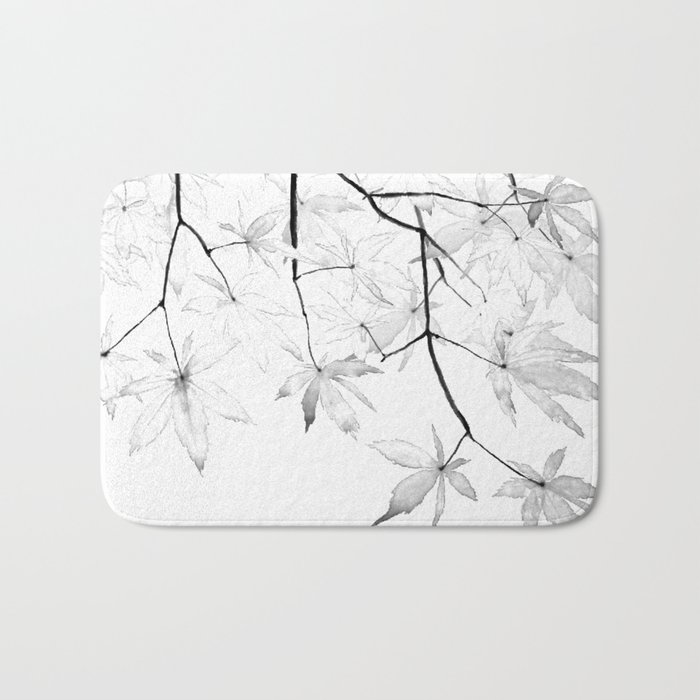 black and white maple leaves Bath Mat