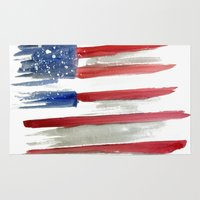 american flag Area & Throw Rugs featuring American Flag by Jenny Highsmith