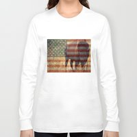 patriotic Long Sleeve T-shirts featuring Patriotic Bison  by IndigoGallery