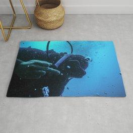 Scuba diver flipping off underwater, Middle finger Underwater Rug