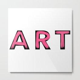 Minimalist Art Pink Brush Strokes Metal Print