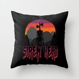 Scary Siren Head vintage sunset meme  Throw Pillow