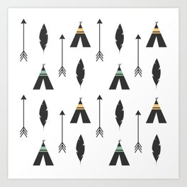 cute feathers, arrows and teepee ethnic tribal seamless pattern illustration Art Print