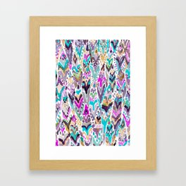 Abstract Colorful Feathers Framed Art Print