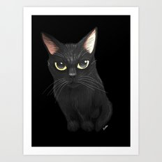 Black cat in black Art Print