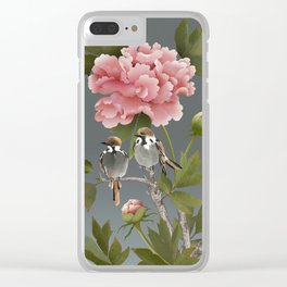 Sparrows and Peony Clear iPhone Case