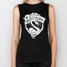White Slytherin Crest Biker Tank
