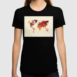 world map 89 art red T-shirt