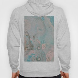 Fluid Art Acrylic Painting, Pour 18, Pastel Pink, Blue & Gray Blended Color Hoody