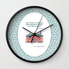 Jane Austen house and quote Wall Clock