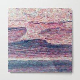 Blue ocean on a pink sky Metal Print