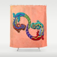 techno Shower Curtains featuring Techno Geckos by Illustrated Light and Color