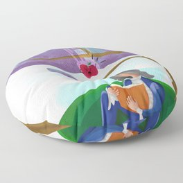 discovery of the law of gravity and the raging apple Floor Pillow