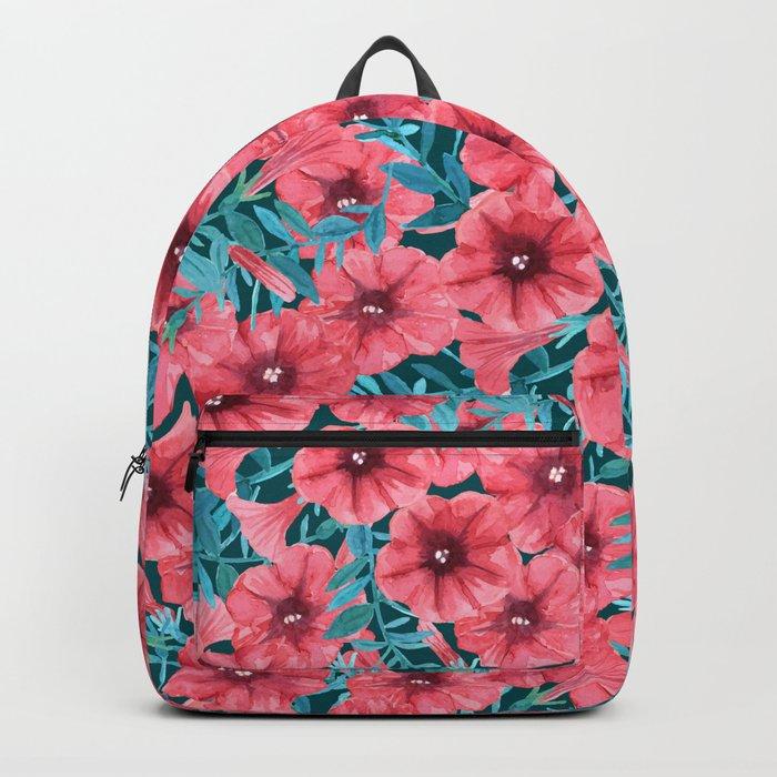 Red watercolor petunia flower pattern Backpack