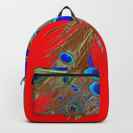 DECORATIVE  RED GREEN BLUE PEACOCK FEATHER JEWELS Backpack