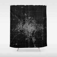 kansas Shower Curtains featuring Wichita map Kansas by Line Line Lines