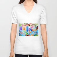 maryland V-neck T-shirts featuring Baltimore, Maryland by Karen Riddle