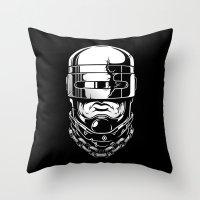 robocop Throw Pillows featuring Hey, Robocop! by OneAppleInBox