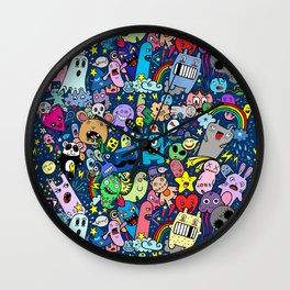 Doodle Monsters Party Night Wall Clock
