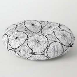 For the Love of Cycling Pattern - Grey Black Floor Pillow