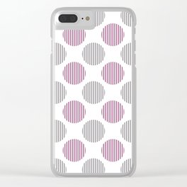 Dark pink, gray and white striped texture polka dots pattern Clear iPhone Case
