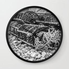 Fishing gear on Cromer beach Wall Clock