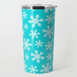 Hanukkah and Christmas Snowflake Pattern on Bright Blue Travel Mug