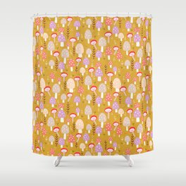 Fungi Forage Shower Curtain
