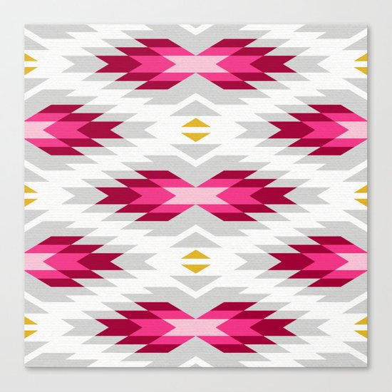 Tribal pattern - grey and pink Canvas Print
