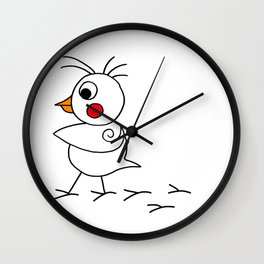 Drawn by hand a lovely funny baby chicken Wall Clock
