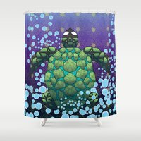 sea turtle Shower Curtains featuring Sea Turtle by Dusty Goods