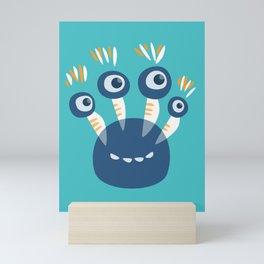 Cute Blue Four Eyed Monster Mini Art Print