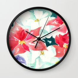 Poinsettia Cheer Wall Clock