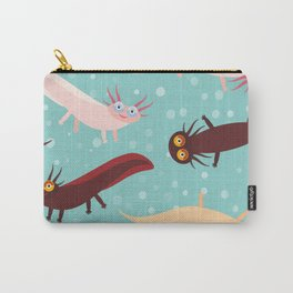 pattern Cute orange pink brown Axolotl Cartoon character on blue background in the aquarium Carry-All Pouch