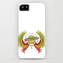 Lime in the coconut and two scarlet macaws. iPhone Case