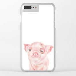 Pig | Animals | Watercolour | Art | Painting | Nature | Farm Piglet | Peek-a-boo Clear iPhone Case