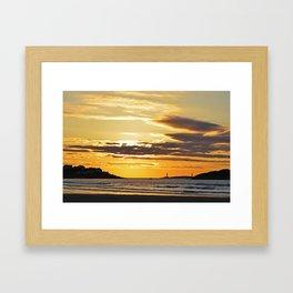 Good Harbor Lighthouses at Sunrise Framed Art Print
