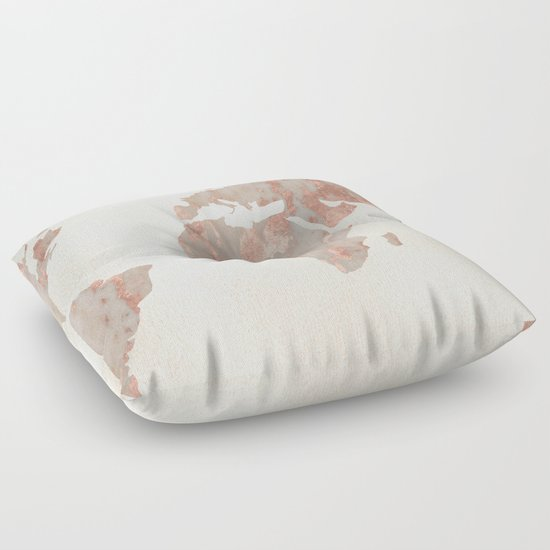 Gold Floor Pillows : Rose Gold Marble Map of the World Floor Pillow by MapMaker Society6