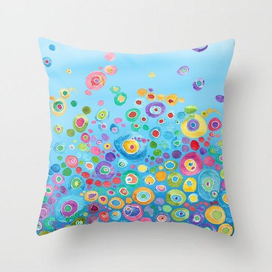 Inner Circle - Blue Throw Pillow