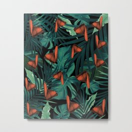 Tropical Butterfly Jungle Night Leaves Pattern #2 #tropical #decor #art #society6 Metal Print