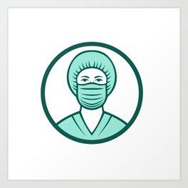 Nurse Wearing Surgical Mask Icon Art Print